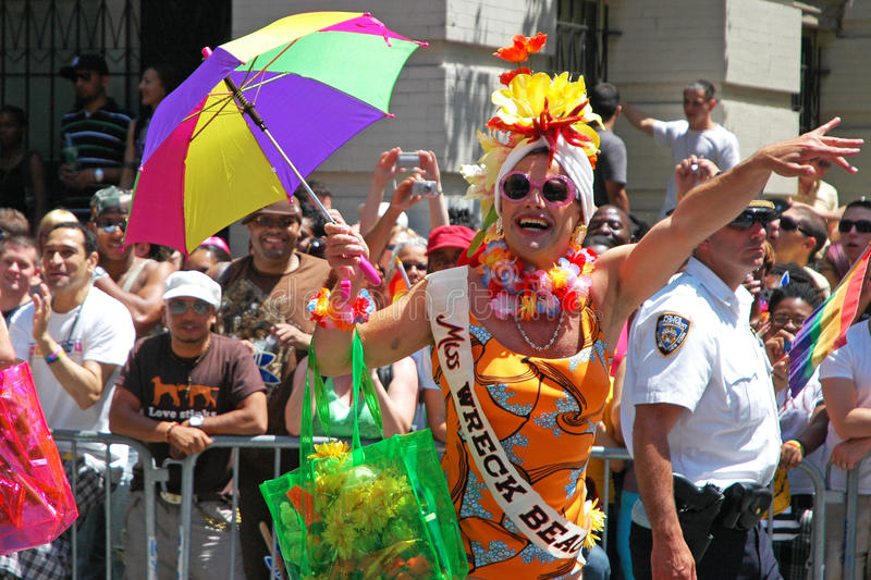 LGBT Gay Pride March in Manhattan. NEW YORK CITY - JUNE 24: Large crowds gather for the annual NYC LGBT Gay Pride March in Manhattan on June 24, 2007. The March royalty free stock images