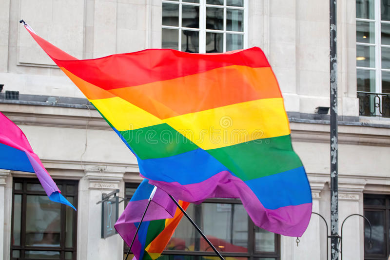 LGBT Gay Pride Rainbow Flag. LGBT Gay Pride Rainbow Flag Being Waved At Pride ?March royalty free stock photo