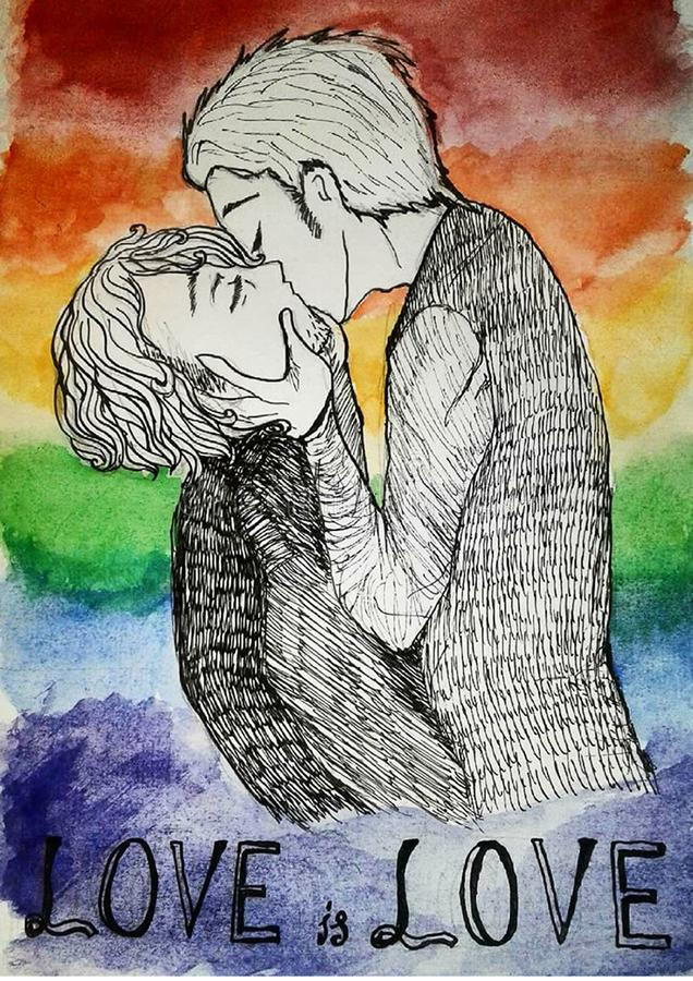 LGBT gays kissing kiss Love is love. Rainbow lesbians bisexuals pride feminism yaoi boys love drawing, art, picture, poster vector illustration