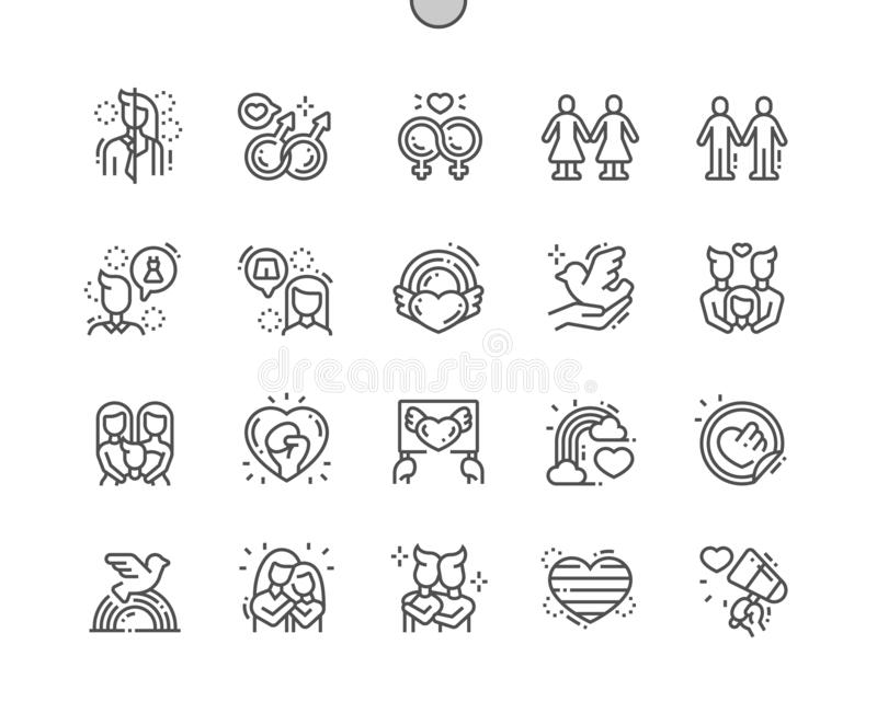 LGBT or GLBT Well-crafted Pixel Perfect Vector Thin Line Icons 30 2x Grid for Web Graphics and Apps. Simple Minimal Pictogram vector illustration