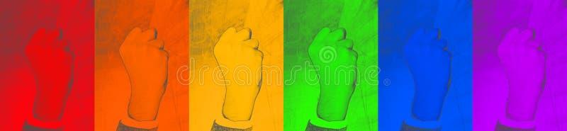 LGBT gripen hårt om näve för gest - symbol av ansträngning för deras rätter på färgrik bakgrund abstrakt rengöringsdukbakgrund -  fotografering för bildbyråer
