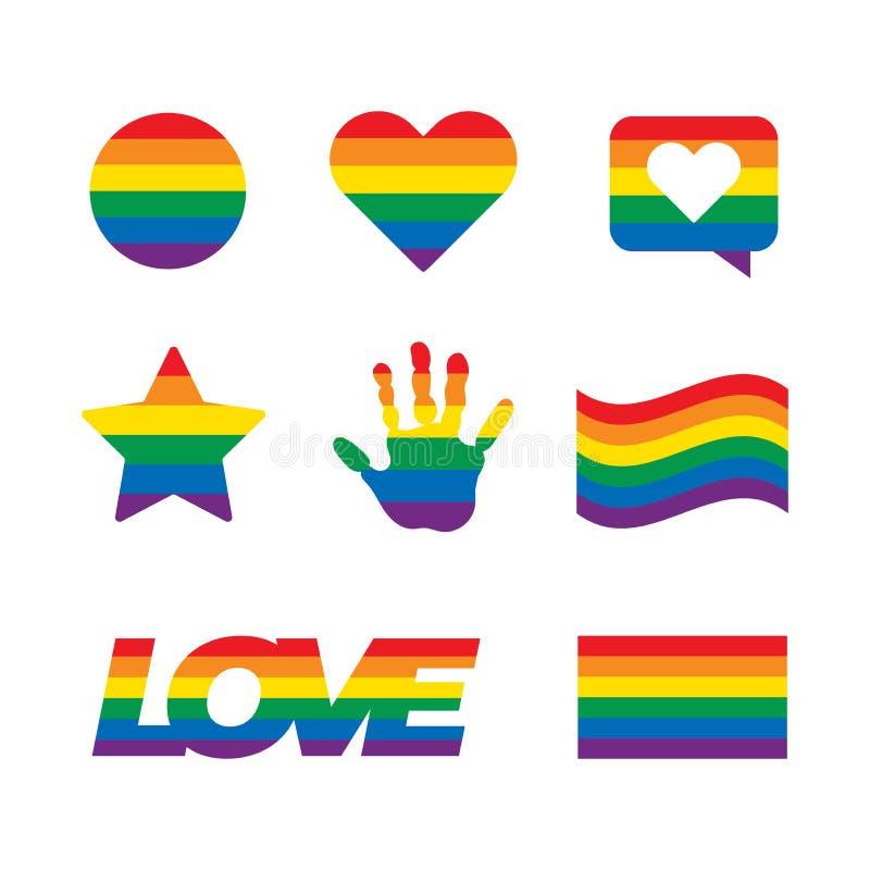 LGBT ha collegato l'insieme di simboli nei colori dell'arcobaleno Orgoglio, bandiere di libertà, cuori illustrazione vettoriale