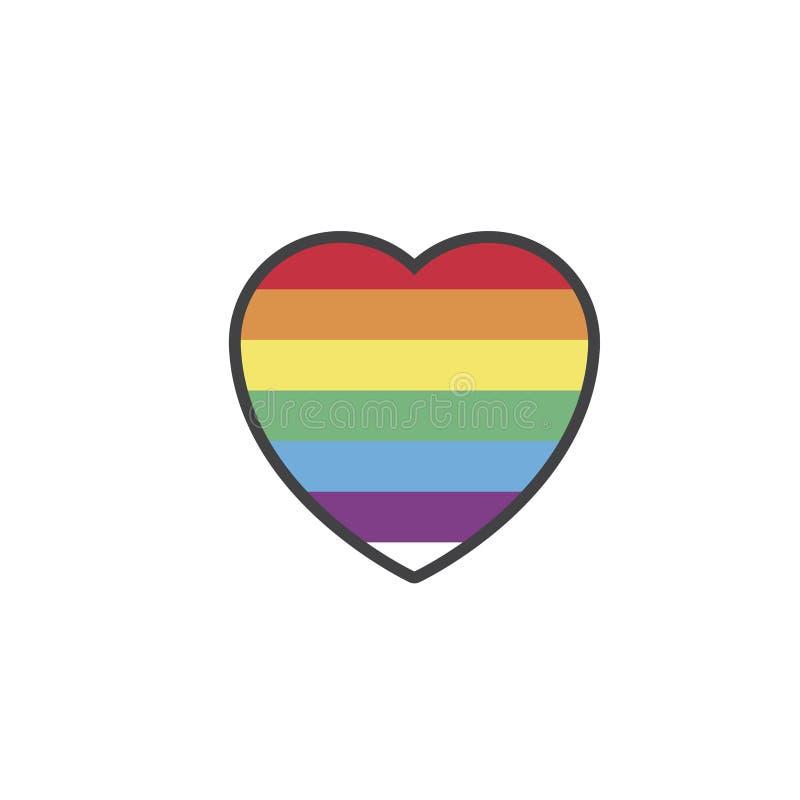 LGBT-hart op wit wordt geïsoleerd dat vector illustratie