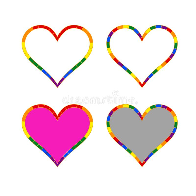 LGBT Heart Icon for the Community. LGBT HEARTS, a collection of four variations of the heart symbol. Perfect for the LGBT community!, vector illustration, eps 10 vector illustration