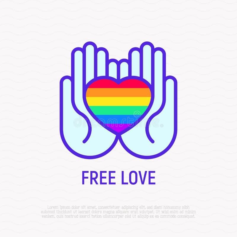 LGBT-het symbool, regenbooghart in handen verdunt lijnpictogram stock illustratie