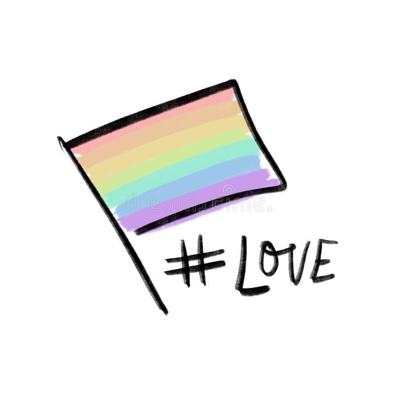 LGBT-hjärtaflagga Utdragna färger för hand av regnbågen royaltyfri illustrationer