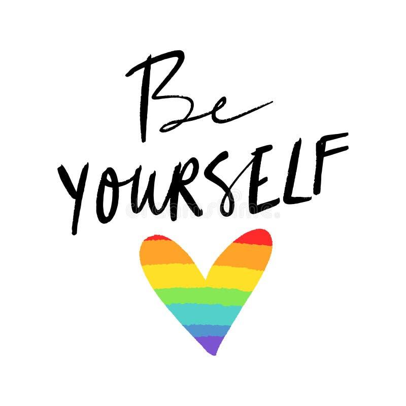 LGBT-hjärtaflagga Utdragna färger för hand av regnbågen stock illustrationer