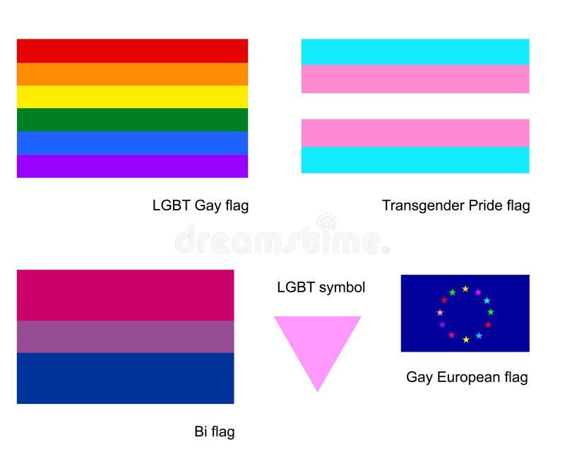 LGBT homoseksualista zaznacza ikona set, odizolowywającego na białym tle Transgender flaga Bi flaga, biseksualny symbol ilustracji