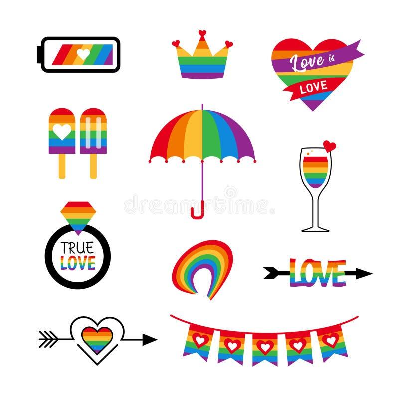 LGBT-Ikonenvektorsatzstolz-Flaggenregenbogen lizenzfreie abbildung