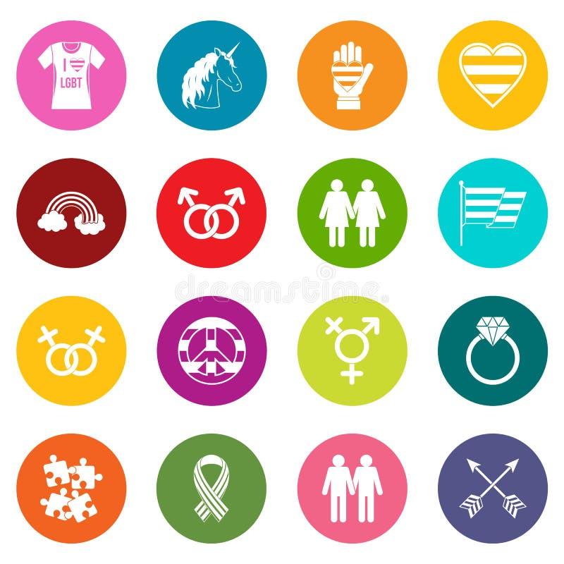 Lgbt ikony wiele kolory ustawiający ilustracja wektor