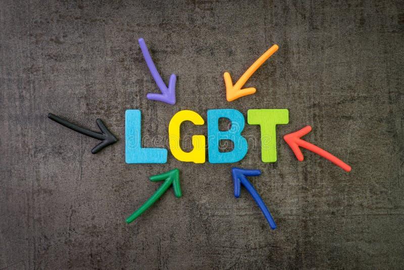LGBT, initialism que representa lesbiano, gay, bisexual, y concepto del transexual, flechas del multicolor que señalan a la palab foto de archivo