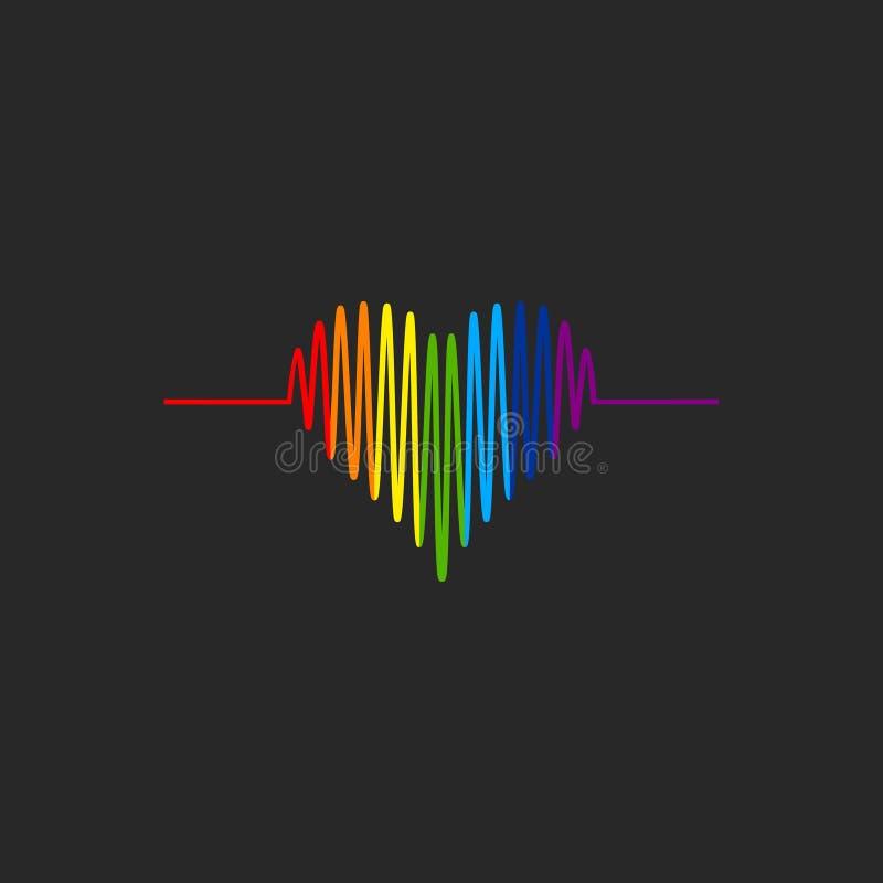 LGBT kardiograma kierowa ikona LGBT dumy symbol royalty ilustracja