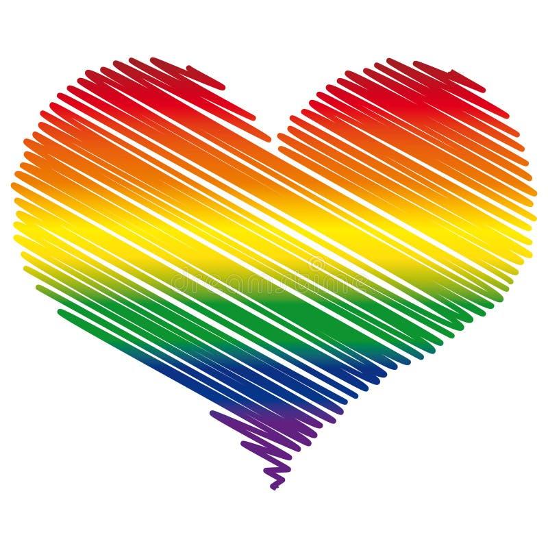 LGBT kolorów serca flaga emblemat. royalty ilustracja