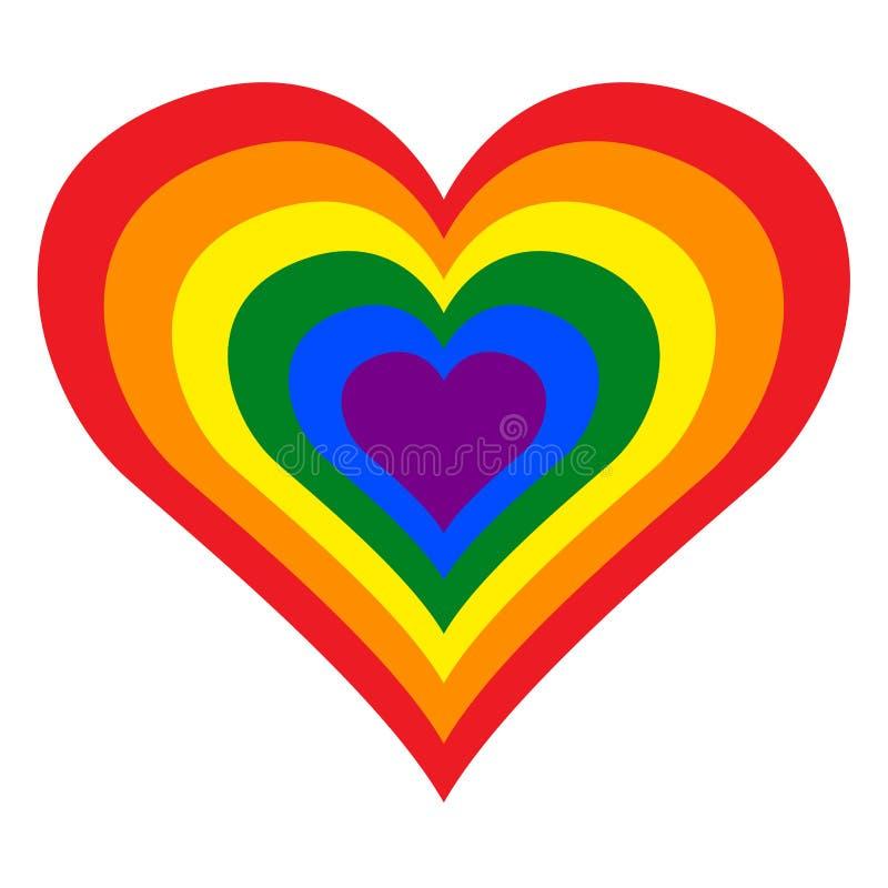 LGBT lesbien, gai, bisexuel et transsexuel Pride Rainbow Heart dans le format d'illustration de vecteur illustration stock