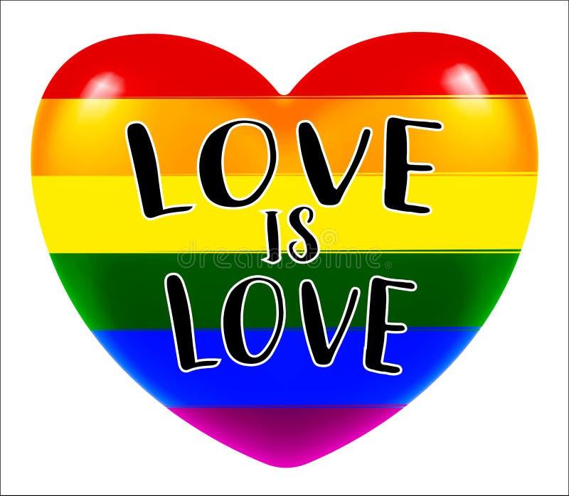 LGBT-Liebe ist Liebesherz auf weißem Hintergrund vektor abbildung