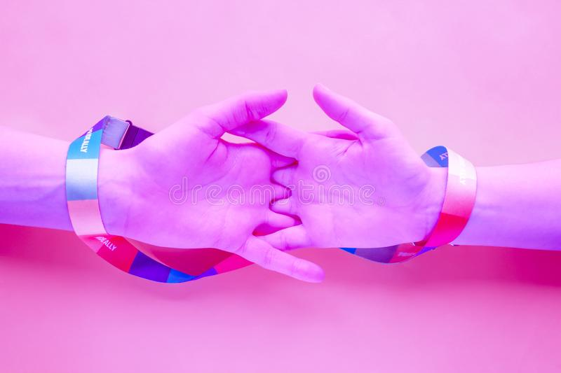 LGBT love and friendship concept, surreal creative purple color stock images