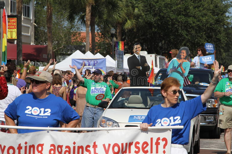 LGBT for Obama at St. Pete Pride Street Parade. Lesbian, Gay, Bisexual, and Trans-gender for Obama (Hillsborough County GLBTA Democratic Caucus) participating in stock image