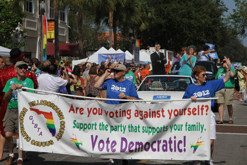 LGBT for Obama at St. Pete Pride Street Parade. Lesbian, Gay, Bisexual, and Trans-gender for Obama (Hillsborough County GLBTA Democratic Caucus) participating in royalty free stock photography