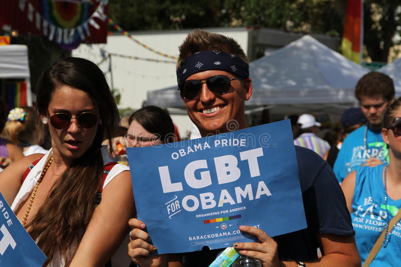 LGBT for Obama at St. Pete Pride Street Parade. Lesbian, Gay, Bisexual, and Trans-gender for Obama (Hillsborough County GLBTA Democratic Caucus) participating in stock images