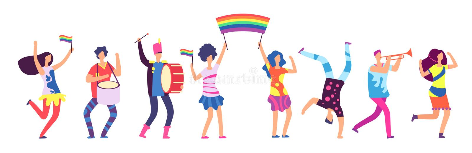 Lgbt parade. People holding rainbow flag. Gay love pride, sexual discrimination protest vector concept stock illustration