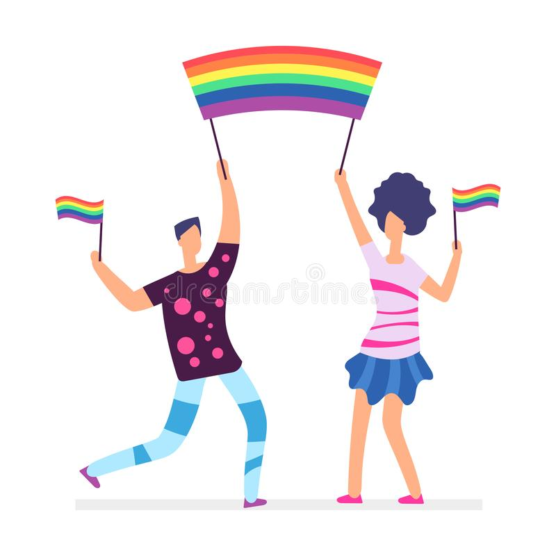 Lgbt parade. People holding rainbow flags. Man and woman vector character stock illustration
