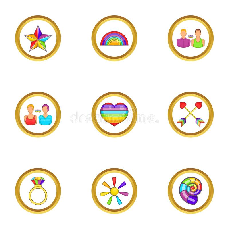Lgbt people icons set, cartoon style. Lgbt people icons set. Cartoon set of 9 lgbt people vector icons for web isolated on white background royalty free illustration