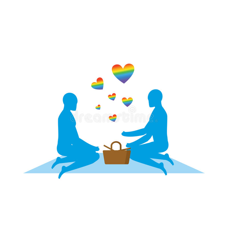 LGBT picnic. Gay Rendezvous in Park. Rural jaunt lovers men. Meal in nature. Plaid and basket for food on lawn. Romantic LGBT ill. Ustration. Blue people vector illustration