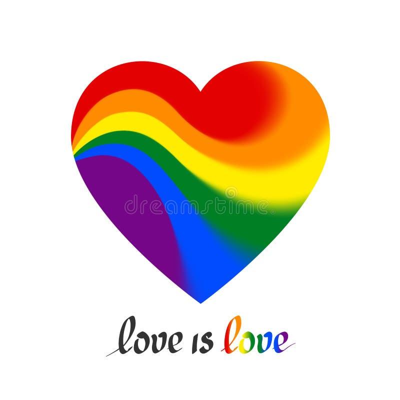 LGBT poj?cie - kierowy kszta?t w lgbtq flagi kolor?w teksta mi?o?ci jest mi?o?ci? Ikona mi?o?ci transgender homoseksualni lesbian ilustracja wektor
