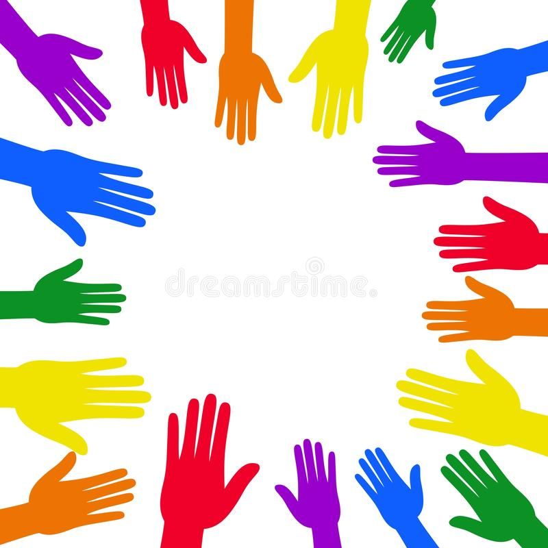 LGBT Pride banner with colorful hand around circle frame and rainbow flag design. vector illustration