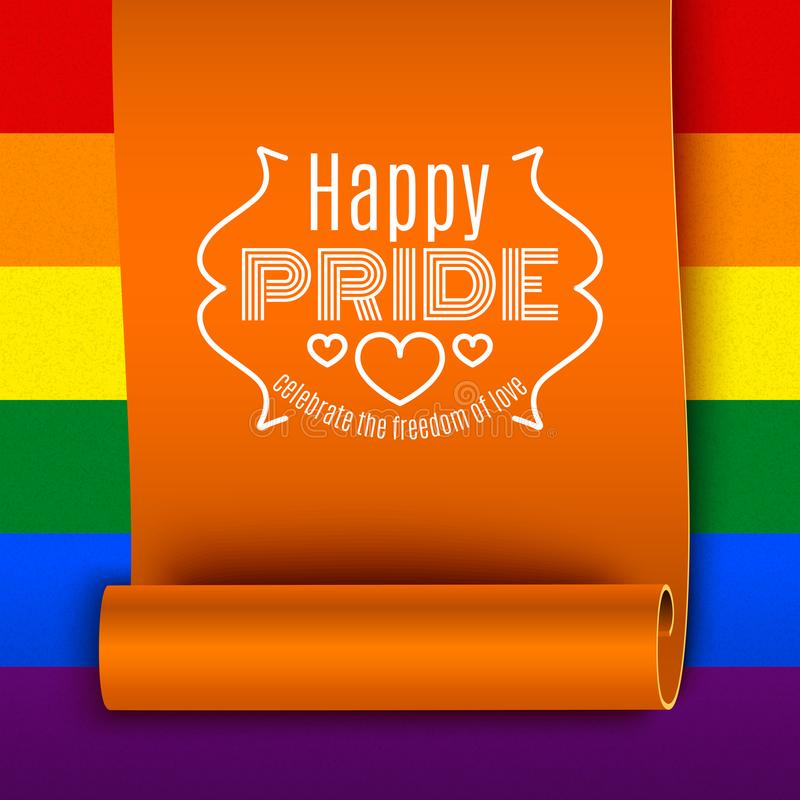LGBT pride, gay love celebration, text on ribbon on rainbow back. Ground, vector illustration vector illustration
