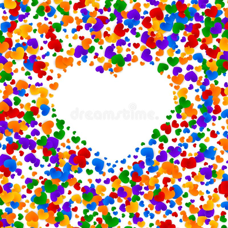 LGBT pride greeting card, gay love celebration, rainbow background, vector illustration stock illustration