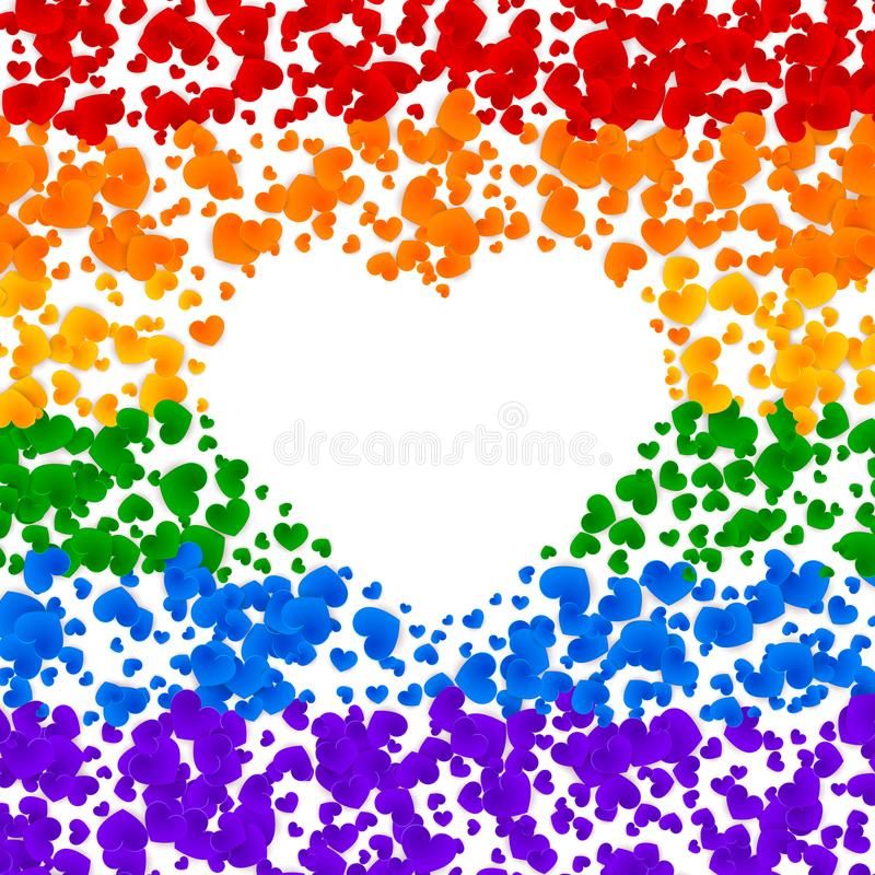 LGBT pride greeting card, gay love celebration, rainbow background, vector illustration royalty free illustration