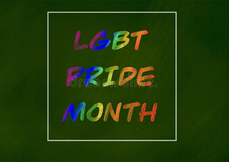 LGBT pride month background concept. Chalk drawing on green chalkboard, lesbian, symbol, rainbow, gay, love, colorful, bisexual, flag, homosexual, community vector illustration