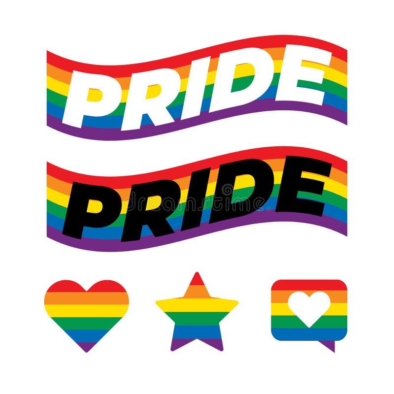 LGBT Pride Text In Rainbow Flag Die Farben reflektieren die Vielfalt der LGBT-Gemeinschaft stock abbildung