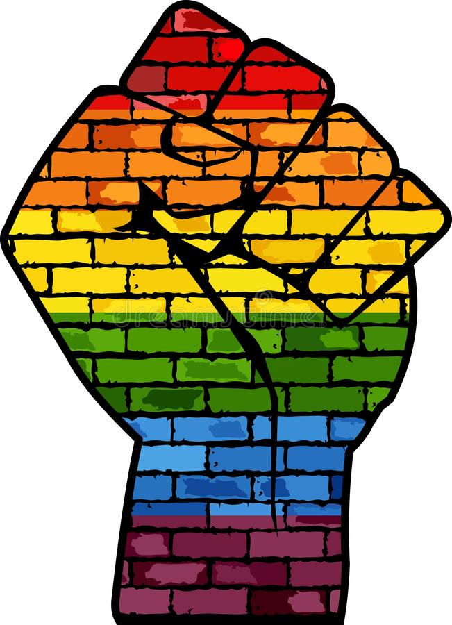 LGBT-protestnäve stock illustrationer