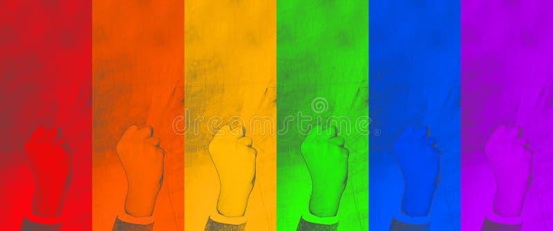 LGBT punho apertado do gesto - símbolo do esforço para seus direitos no fundo colorido contexto abstrato - imagem fotografia de stock royalty free