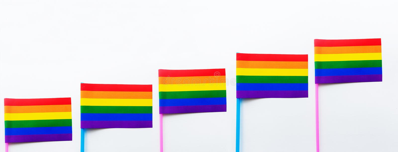 LGBT rainbow flag on a white background, banner. The LGBT rainbow flag on a white background, banner stock image