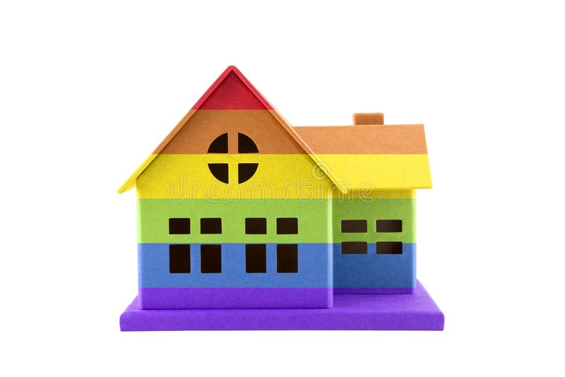 LGBT rainbow house isolated on white with clipping path. LGBT rainbow cardboard house isolated on white with clipping path stock photography