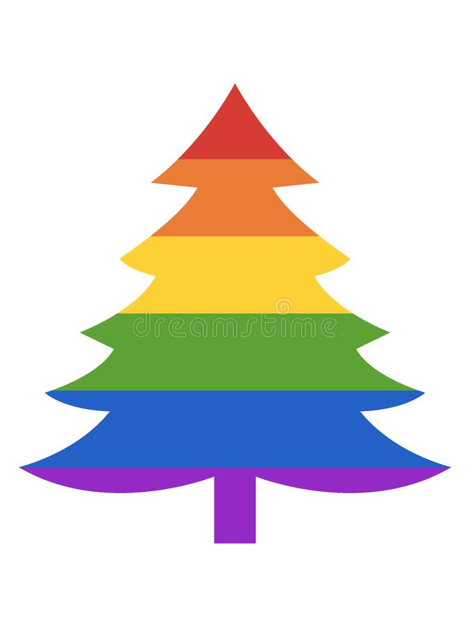 LGBT Rainbow Picture of a Evergreen Tree. Vector illustration of the LGBT Rainbow Picture of a Evergreen Tree stock illustration