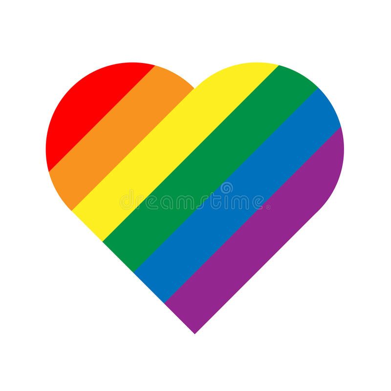 LGBT rainbow pride flag in a shape of heart. Lesbian, gay, bisexual, and transgender stylish design element. Simple flat vector illustration