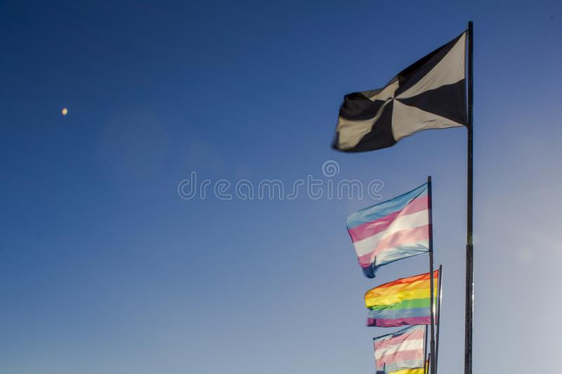 LGBT rainbow pride flags. Against blue sky royalty free stock image