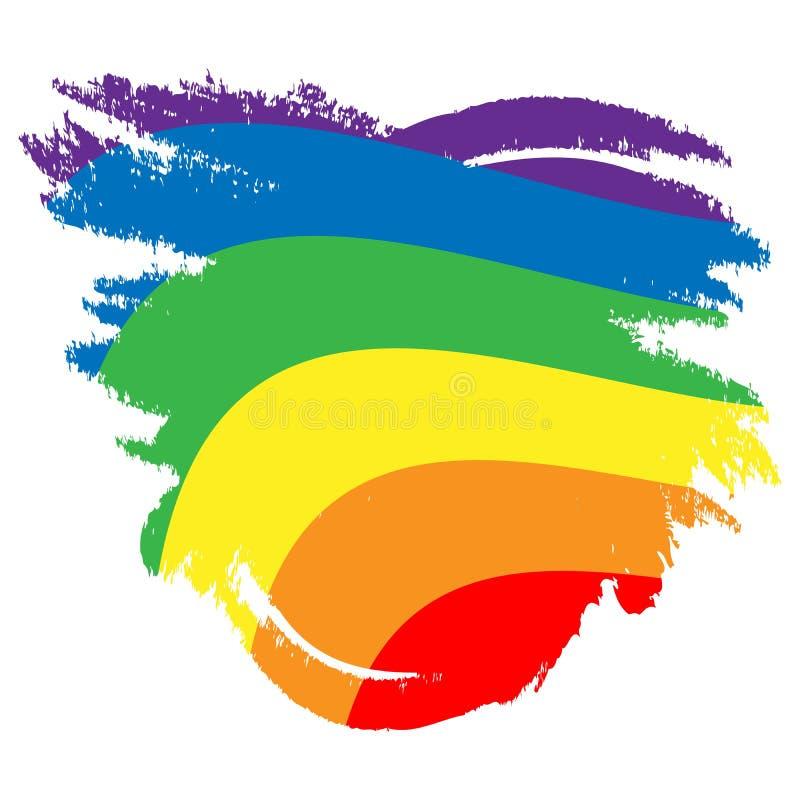 LGBT-Regenbogenflagge E Vektorillustrations-Schmutzart vektor abbildung