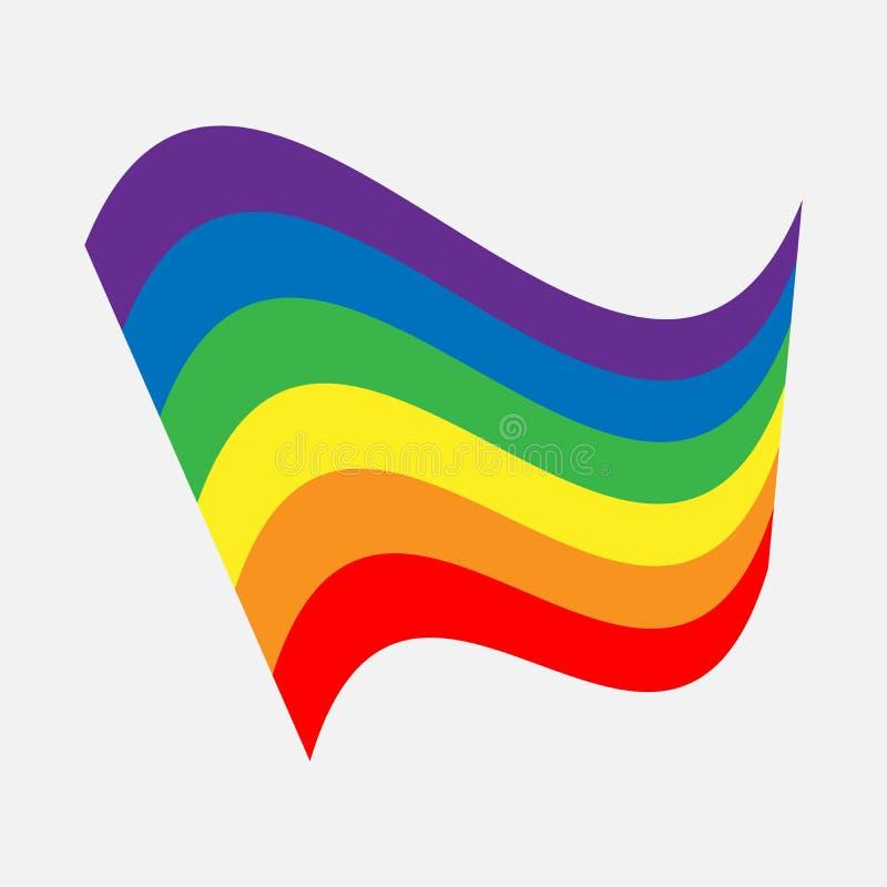 LGBT-regenboogvlag De golvende banner van het trotsteken De illustratie van het levensstijlembleem vector illustratie