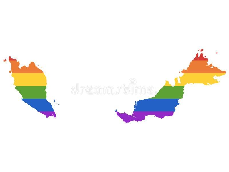 LGBT-regnbågeöversikt av Malaysia stock illustrationer