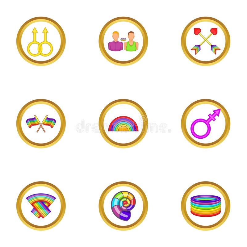 Lgbt rights icons set, cartoon style. Lgbt rights icons set. Cartoon set of 9 lgbt rights vector icons for web isolated on white background royalty free illustration