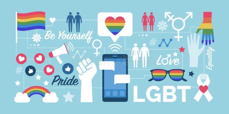 LGBT rights and social media community vector illustration