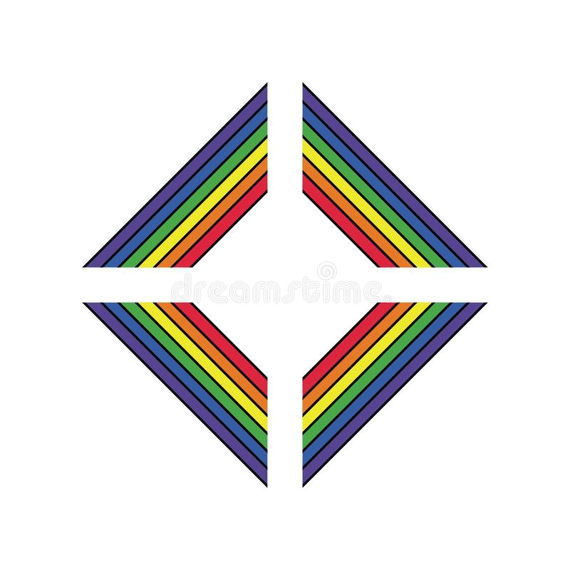 LGBT-Stützsymbol in den Regenbogenfarben mit Beschriftung Ikonen, Logoschablone Stilvolles Gestaltungselement der modernen flache vektor abbildung