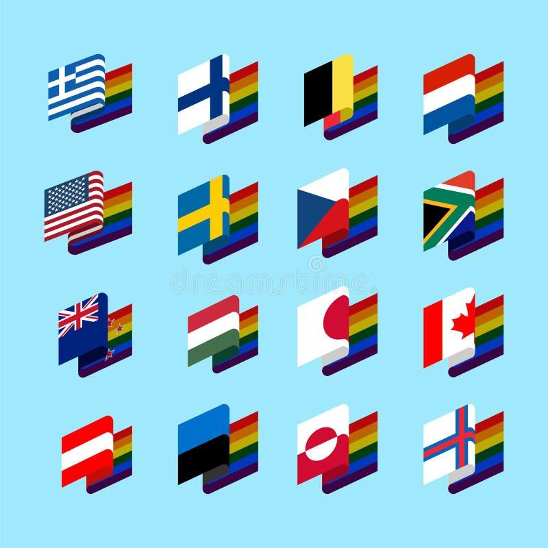 LGBT State flag set 2. Same-sex marriages Symbol of tolerant. Ga stock illustration