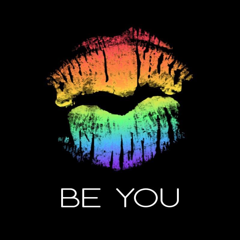 LGBT-steunaffiche met de afdruk van de regenbooglippenstift stock illustratie