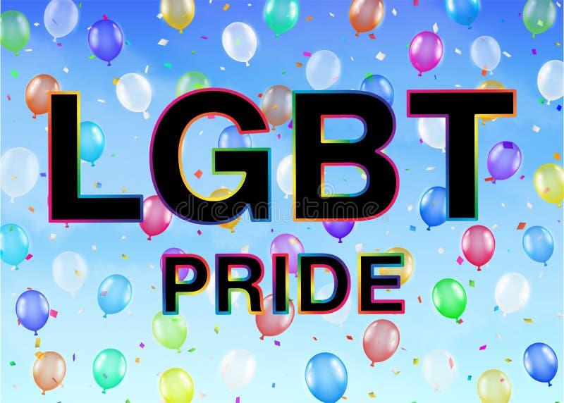 LGBT-Stolz auf buntem Ballonhimmelhintergrund vektor abbildung